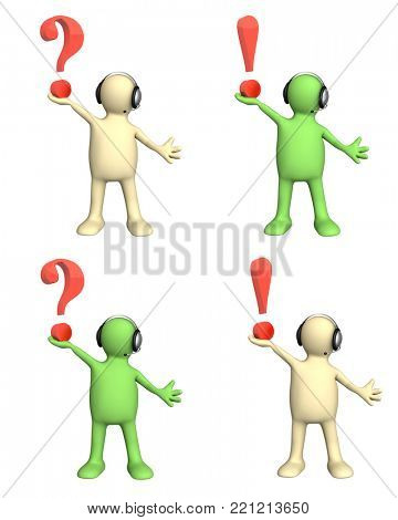 Support service. Set of puppet with headset and question mark and exclamation mark. Isolated on white background. 3d render