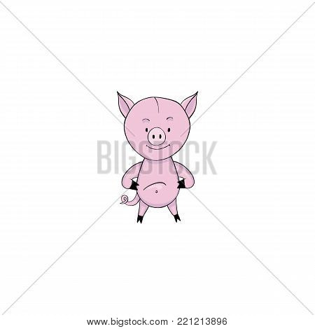 Pig cartoon icon isolated on white background