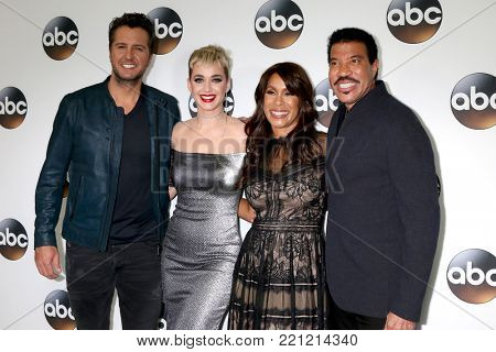 LOS ANGELES - JAN 8:  Luke Bryan, Katy Perry, Channing Dungey, Lionel Richie at the ABC TCA Winter 2018 Party at Langham Huntington Hotel on January 8, 2018 in Pasadena, CA
