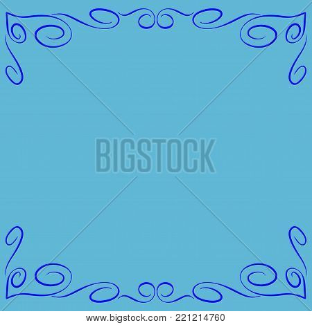 Frame blue. Decoration banner rim. Colorful framework isolated on light blue background. Modern art scoreboard. Border from curls and curves. Decoration concept. Stock vector illustration
