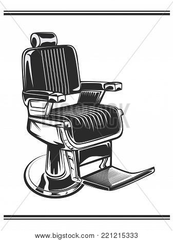 Monochrome color illustration of barbershop chair. Leather with chrome elements. Isolated on white background