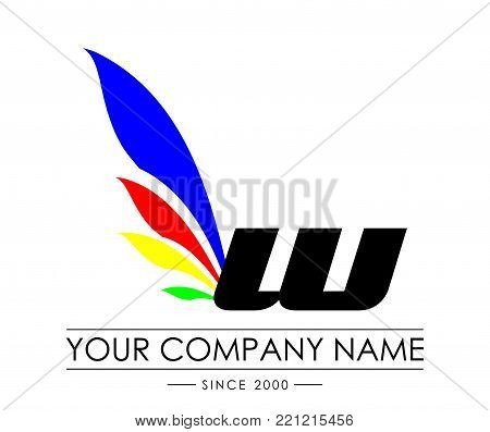 W Letter Wings Logo Design Icon. Flying Wing Letter Logo with Creative Black Wing Concept.