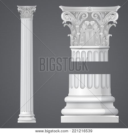 White Realistic antique Corinthian column. Classical architectural support. Vector graphics