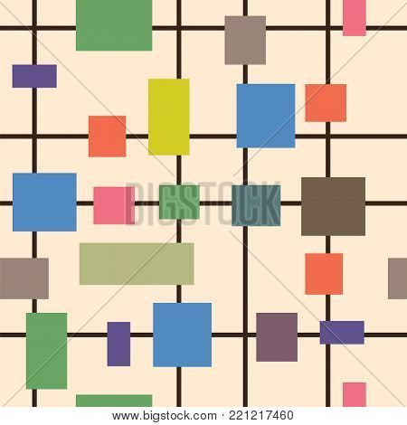 Abstract multicolored geometric shapes squares, rectangles and straight lines on a light beige background pattern. Vector pattern geometric shapes squares, rectangles and straight lines