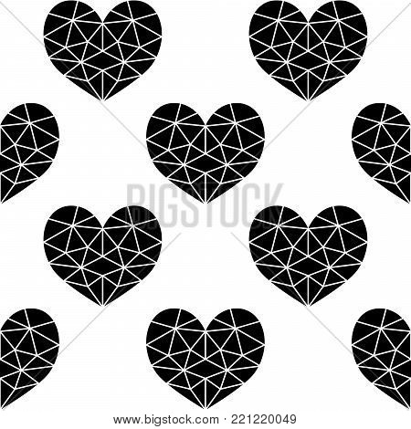 Geometric black cubic heart vector seamless pattern, Valentine's Day hearts on white background