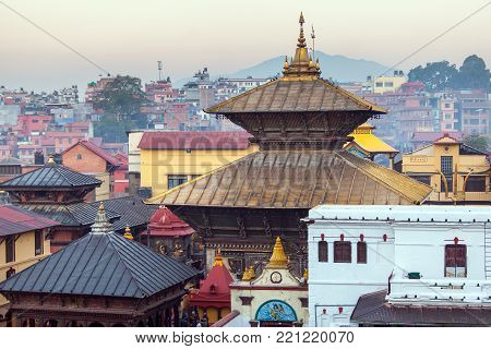 Bhasmeshvar Ghat at Pashupatinath temple and Bagmati River in Kathmandu, Nepal