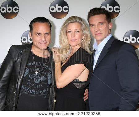 LOS ANGELES - JAN 8:  Maurice Bernard, Laura Wright, Steve Burton at the ABC TCA Winter 2018 Party at Langham Huntington Hotel on January 8, 2018 in Pasadena, CA