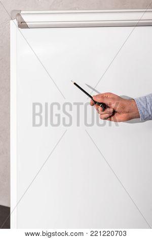cropped image of businessman showing something at flipchart