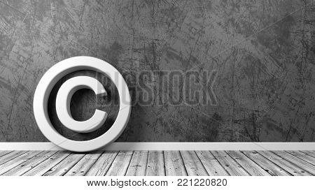 White Copyright Symbol Shape on Wooden Floor Against Grey Wall with Copyspace 3D Illustration
