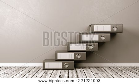 Binders Aligned as a Staircase on Wooden Floor Against Grey Wall with Copyspace 3D Illustration
