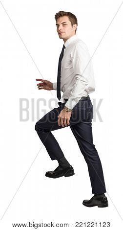 young caucasian businessman move up isolated on white background
