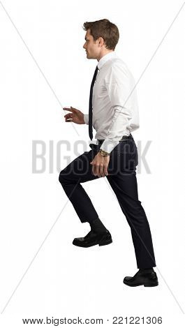 side view of  businessman move up isolated on white background