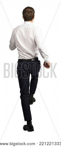 businessman move up back view isolated on white background