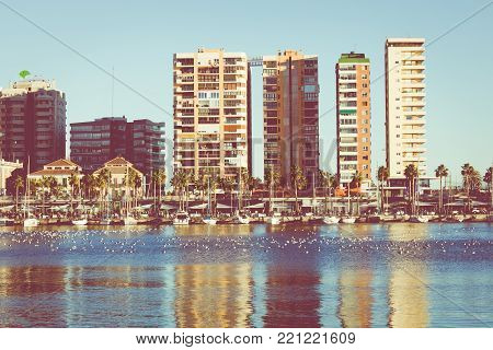 Panoramic View At The Marina Place In Malaga. Malaga Is The Second-most Populous City Of Andalusia A