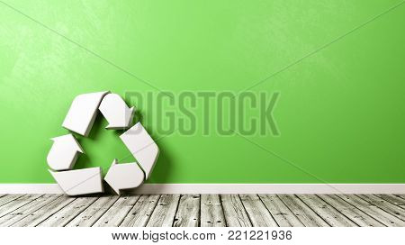 White Recycle Symbol Shape on Wooden Floor Against Green Wall with Copyspace 3D Illustration