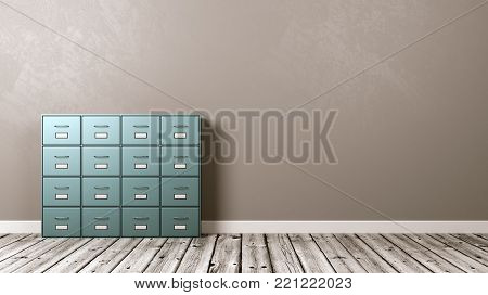 Metallic Archive Rack on Wooden Floor Against Grey Wall with Copyspace 3D Illustration