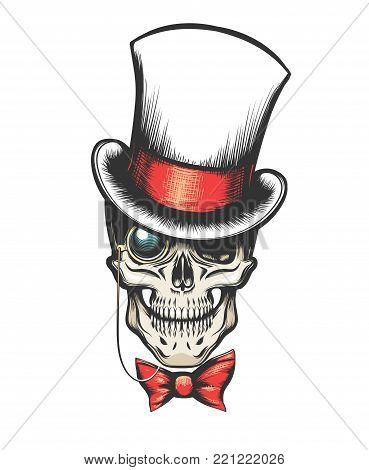 Skull in cylinder hat with monocle and bow tie. vector illustration in tattoo style.