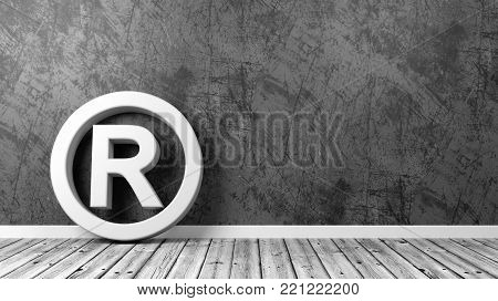 White Trademark Symbol Shape on Wooden Floor Against Grey Wall with Copyspace 3D Illustration