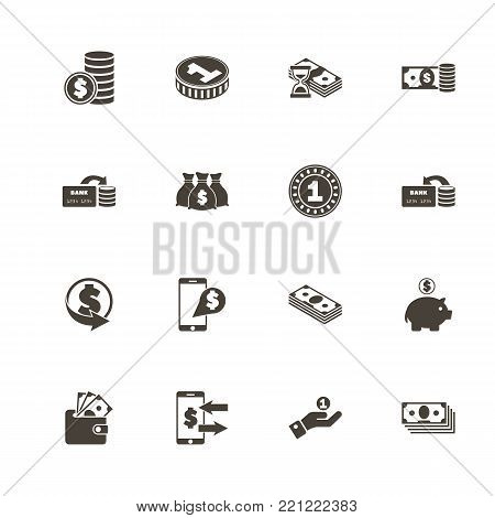 Currency icons. Perfect black pictogram on white background. Flat simple vector icon.