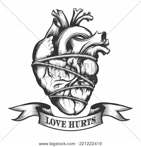 Human heart tied in rope with ribbon. Symbol of Love Hurts drawn in tattoo style. Vector illustration.