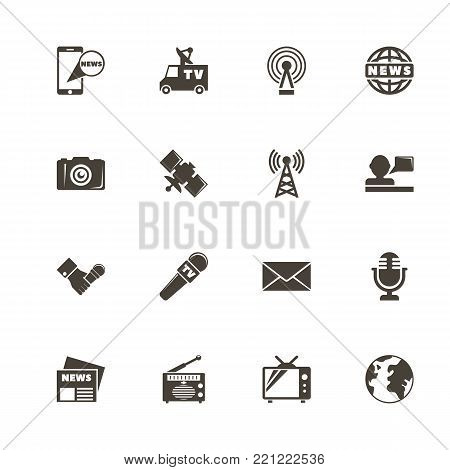 News icons. Perfect black pictogram on white background. Flat simple vector icon.