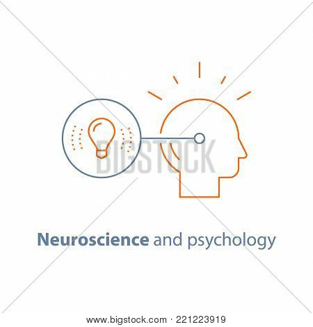 Creative thinking, imagination, concept idea, neuroscience and psychology, smart solution, vector line icon, thin stroke