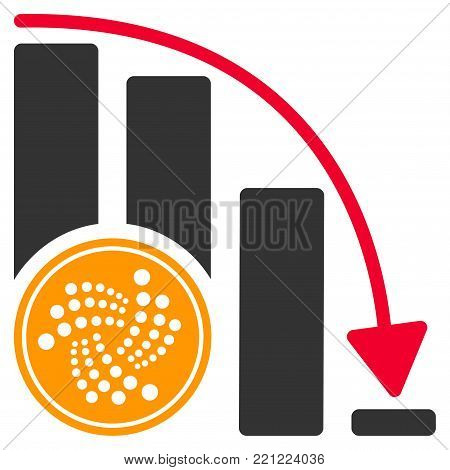 Iota Coin Crisis Chart flat vector icon. An isolated icon on a white background.