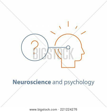Decision making logo, neurology and psychology, critical mindset, questionnaire concept, vector line icon, thin stroke