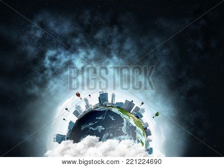 Abstract image of space view at planet Earth in clouds with buildings and aerostats. Dark space haze on background. Elements of this image are furnished by NASA.