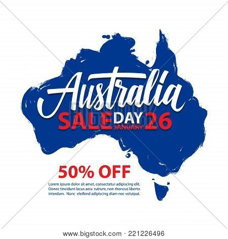 Australia Day Sale, january 26 special offer banner with brush stroke map of Australia and hand lettering for business, promotion and advertising. Vector illustration.