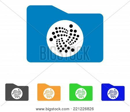 Iota Folder icon. Vector illustration style is a flat iconic iota folder symbol with gray, yellow, green, blue color variants. Designed for web and software interfaces.