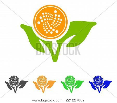 Iota Startup Sprout icon. Vector illustration style is a flat iconic iota startup sprout symbol with gray, yellow, green, blue color versions. Designed for web and software interfaces.