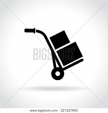 Illustration of hand truck icon on white background