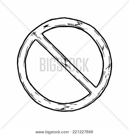Vector hand drawn illustration of circle backslash symbol in vintage engraved style. isolated on white background.