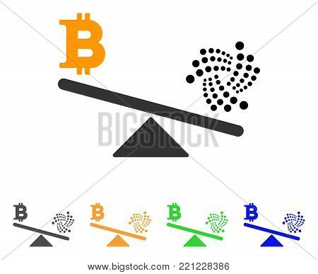 Iota Bitcoin Balance Scale icon. Vector illustration style is a flat iconic iota bitcoin balance scale symbol with gray, yellow, green, blue color versions. Designed for web and software interfaces.