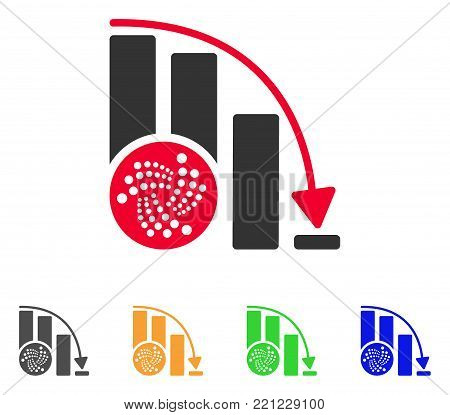 Iota Down Chart icon. Vector illustration style is a flat iconic iota down chart symbol with grey, yellow, green, blue color variants. Designed for web and software interfaces.