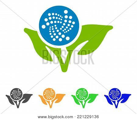 Iota Eco Startup icon. Vector illustration style is a flat iconic iota eco startup symbol with gray, yellow, green, blue color versions. Designed for web and software interfaces.