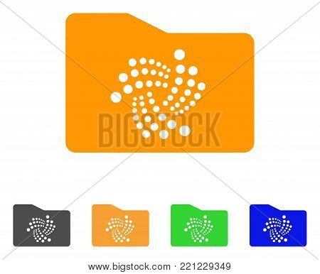 Iota Folder icon. Vector illustration style is a flat iconic iota folder symbol with grey, yellow, green, blue color versions. Designed for web and software interfaces.
