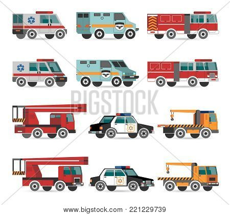 Flat emergency vehicles with fire track and police car vector illustrations