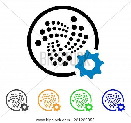 Iota Settings Gear icon. Vector illustration style is a flat iconic iota settings gear symbol with gray, yellow, green, blue color variants. Designed for web and software interfaces.