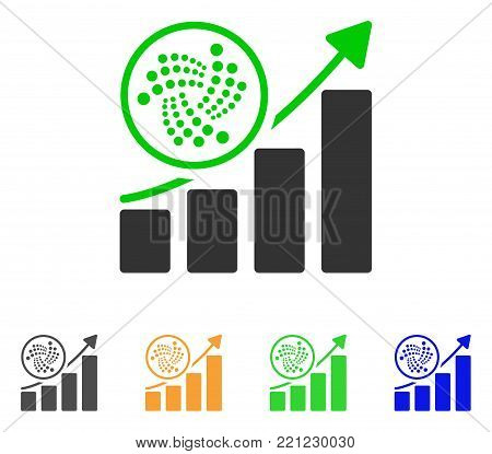 Iota Trend Up Chart icon. Vector illustration style is a flat iconic iota trend up chart symbol with gray, yellow, green, blue color variants. Designed for web and software interfaces.