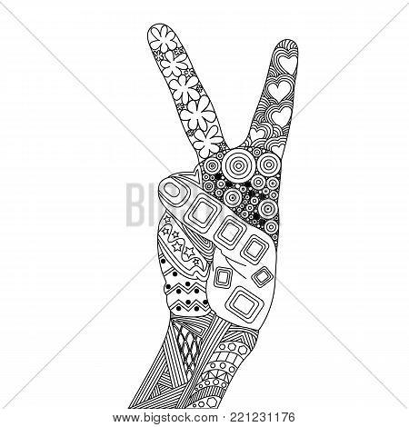Zentangle Peace. Zentangle Hand. Peace of Doodle Elements