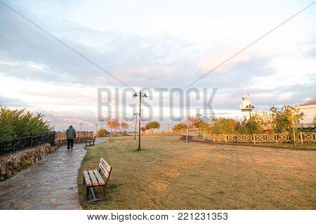 One persone fisherman in morning Turkey Antalya