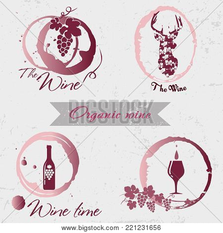 Organic wine logo. Set of badges and labels elements for wine. Quality logos in vector for wine industry. Can be used for companies which produce natural organic wine, to identify the brand graphics.