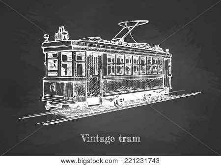 Vector hand drawing of vintage tram on chalkboard.