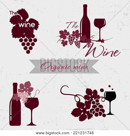 Organic wine logo. Set of badges and labels elements for wine Quality logos in vector for wine industry. Can be used for companies which produce natural organic wine, to identify the brand graphics.