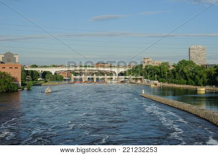 View on Mississippi river Minneapolis and bridge, USA, Summer, May 2017, Bridge, horizontal