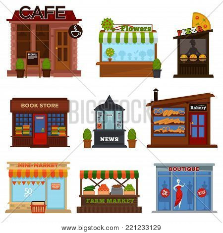 Shops and cafes street showcases with products set. Cozy cafe, fresh flowers, pizza house, book store, news kiosk, tasty bakery, mini and farm markets and fashion boutique vector illustrations set.