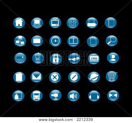 Icon Set In Black Background