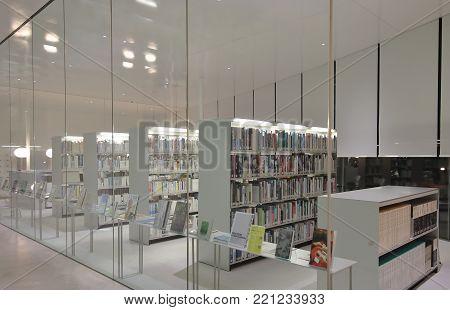 Kanazawa Japan - 24 December, 2017: 21st Century Museum Library In Kanazawa.21st Century Museum Is A